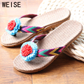 2016 New Lovers Women Men Slippers Flower  Flax Slippers Indoor Shoes Non-Slip Flip Flops High Quality Large Size 35-45