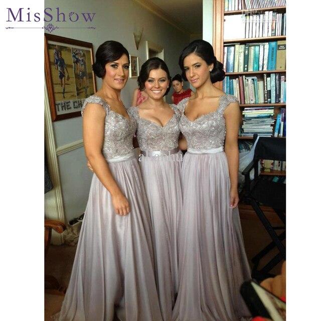2019 New Long Bridesmaid Dresses A Line Beaded Lace Bodice Gray Chiffon  Dress See Through Back Vestido De Festa De Casamento 442cc0544a72