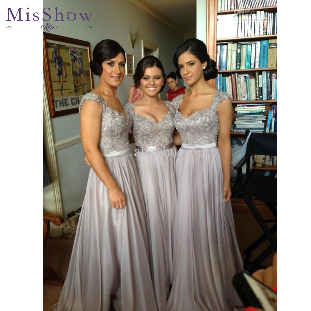 2019 New Long   Bridesmaid     Dresses   A Line Beaded Lace Bodice Gray Chiffon   Dress   See Through Back Vestido De Festa De Casamento