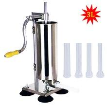 3L вертикальный ручной прибор для набивки сосисок Нержавеющая сталь Sausage чайник заполнение шприц для сосисок инструменты для приготовления мяса Пластик трубы