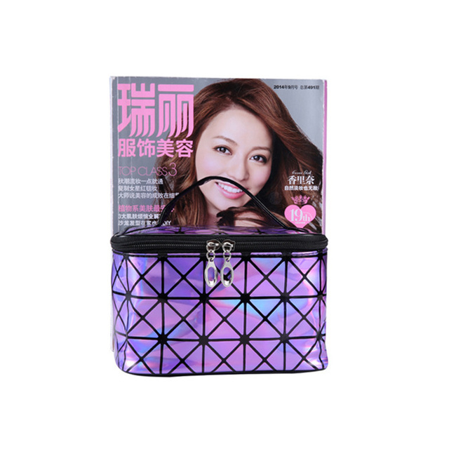 Fashion Brand of Women's Purple PU Leather Cosmetic Bag Travel Organizer Necessarie Cosmetic Makeup Bag DLL-165