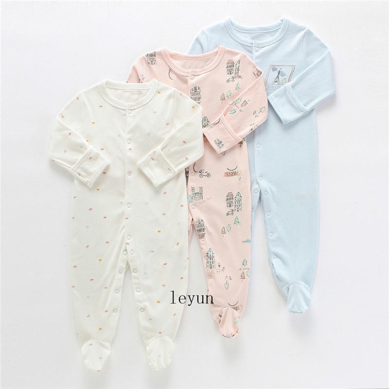 HTB1.lyzPAzoK1RjSZFlq6yi4VXaS Baby Girl Romper Newborn Sleepsuit Flower Baby Rompers 2019 Infant Baby Clothes Long Sleeve Newborn Jumpsuits Baby Boy Pajamas
