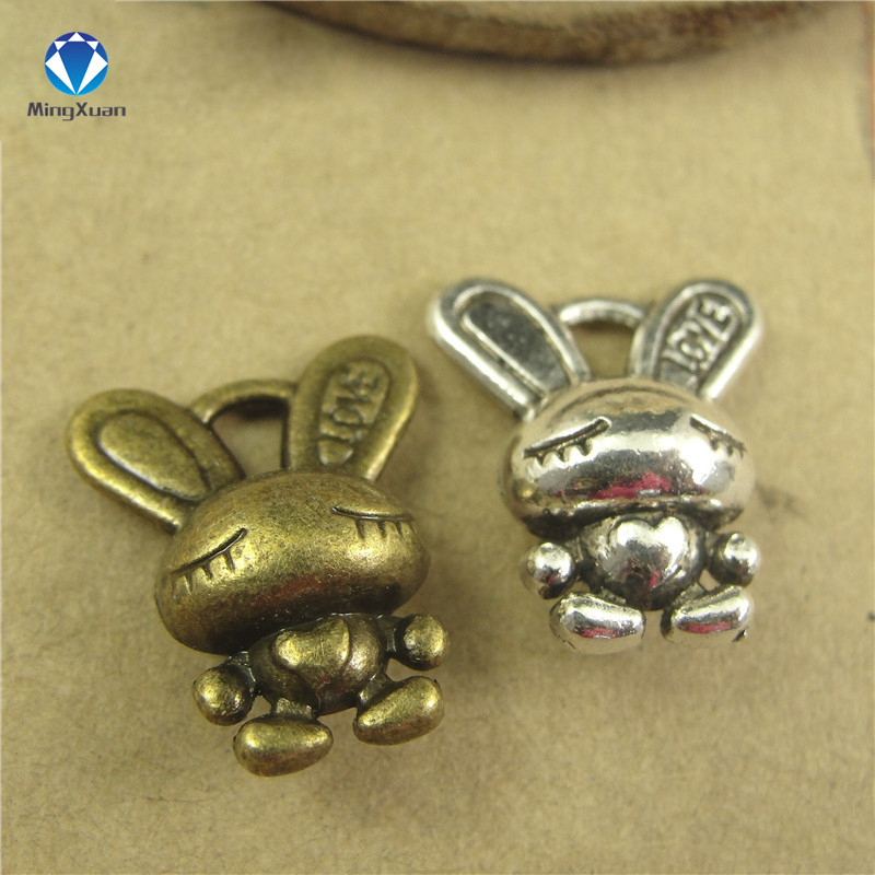 10 pcs Antique bronze charm rabbit pendant bunny