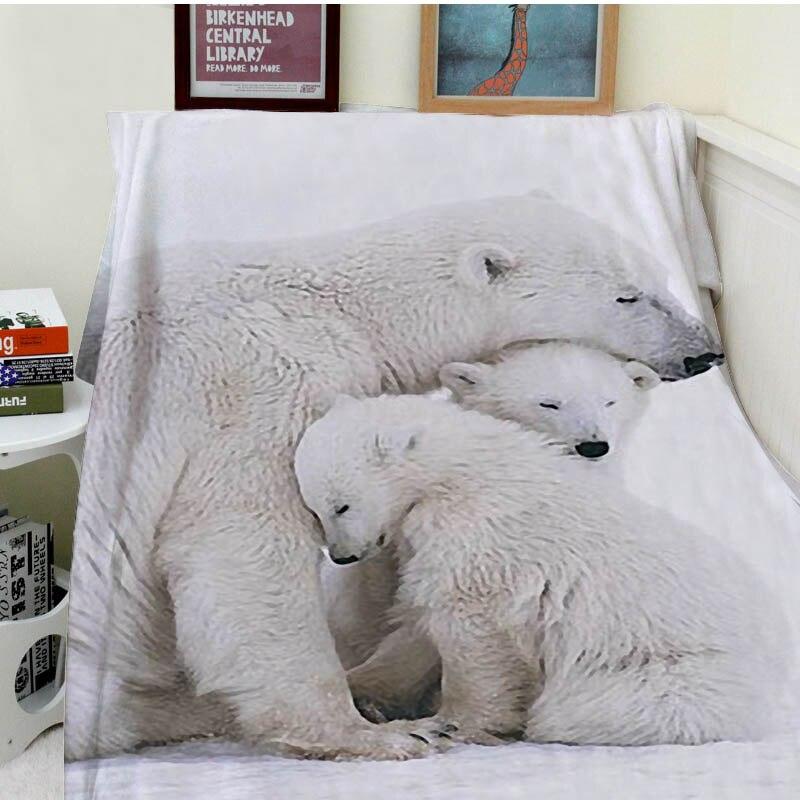 Coperte di Comfort Calore Morbido Cozy Aria condizionata Facile Cura Lavare in Lavatrice Divertente Orso Polare e Cubs