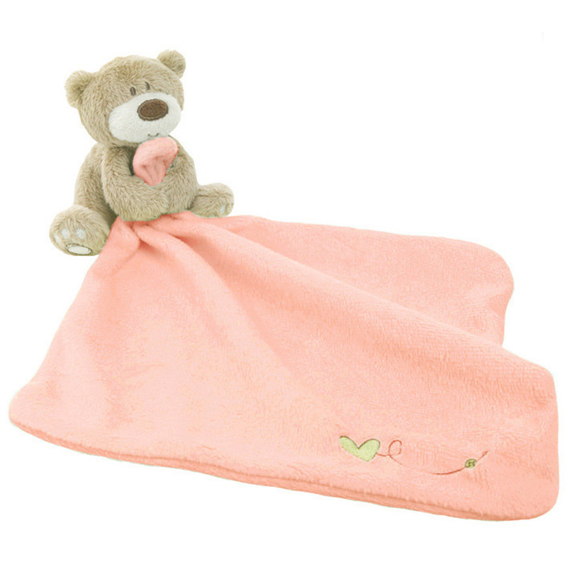 Infant Lovely Baby Nursery Toddler Soft Smooth Bath Cartoon Bear Toy Blanket Towel Baby Care Soft Towels With Bear Toy
