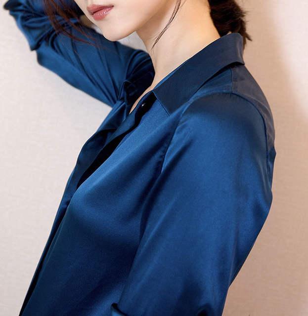 fcafe2a9ff S-XXXL Moda feminina azul Escuro blusa de cetim de seda das senhoras casual  botão