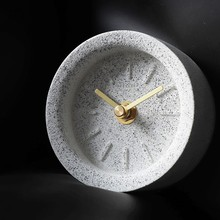 New Creatuve Gray Sand Terrazzo Desk Clock Decorative Quartz Table For Home Decoration Mute Watch On Modern Design