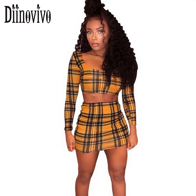Women Sexy 2 Piece Set Plaid Long Sleeve Crop Top And Mini Skirt 2018 Spring Fitness Suite Casual Party Club Female Set SWS325