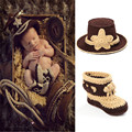 Stylish Western Cowboy Hat&Booties Set Newborn Boy Cowboy Photo Photography Props Knitted Infant Cartoon Costume MZS-14026