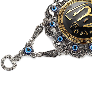 Image 4 - Evil Eye Alloy Painting Oil Round Quran Wall Hanging Jewelry Pendant With BULE EVIL EYE BEADs EY5037