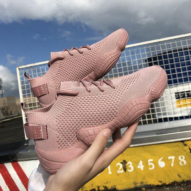 Luxe vrouwen Schoenen Casual Mode Sneaker Platte Platform Flyknit Stretch Stof Dames Schoenen 2018 Nieuwe Mesh Lace-up hoge Kwaliteit