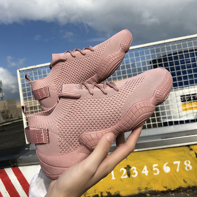 Luxo Plataforma Plana das Mulheres Sapatos Casuais Moda Sneaker Flyknit Sapatas Das Senhoras 2018 Nova Malha de Tecido Stretch Lace-up alta Qualidade