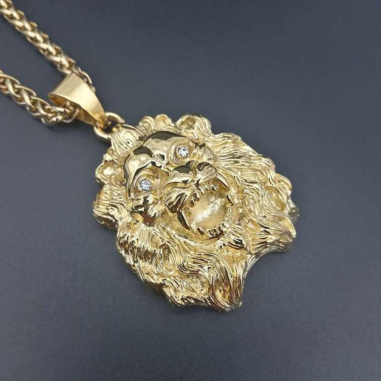 Новые лучшие ювелирные изделия Хип-хоп титановая сталь золотое ожерелье с подвеской в виде льва для мужчин