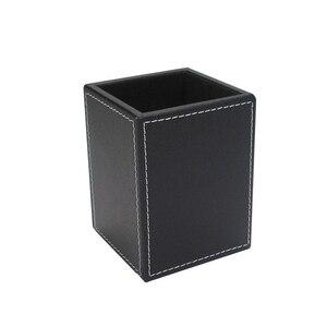 Image 5 - Square PU Leather Pen Pencil Holder Desk Organizer Office Desk Accessories A220 Pen Stand Pencil Box