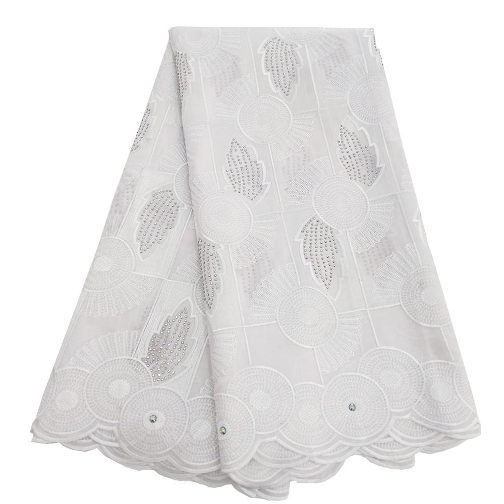 Avec des pierres dentelle africaine tissu suisse Voile dentelle de haute qualité pur blanc nigérian dentelle tissus coton matériel tissu 5 Yards-in Dentelle from Maison & Animalerie    1