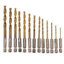 Brocas revestidas de titânio, aço de alta velocidade hss 13, pçs/lote, haste hexagonal, 1/4-1.5mm