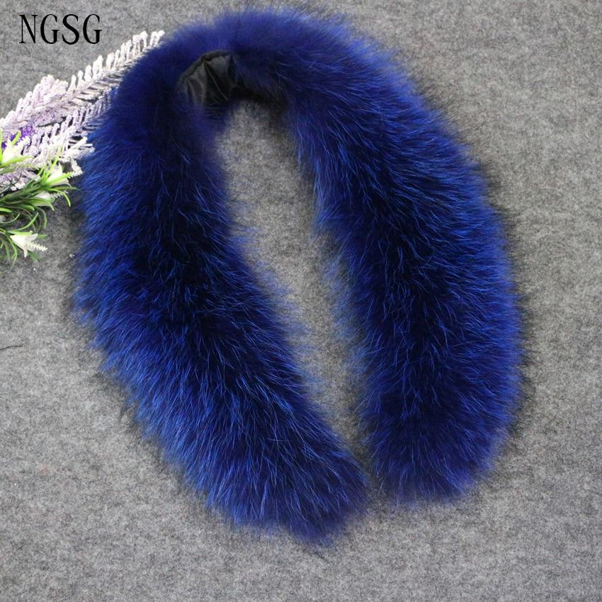 NGSG Pencək Real Kürk Yaxa Dəniz Mavi 80cm Xəz Yenot Palto - Geyim aksesuarları - Fotoqrafiya 2