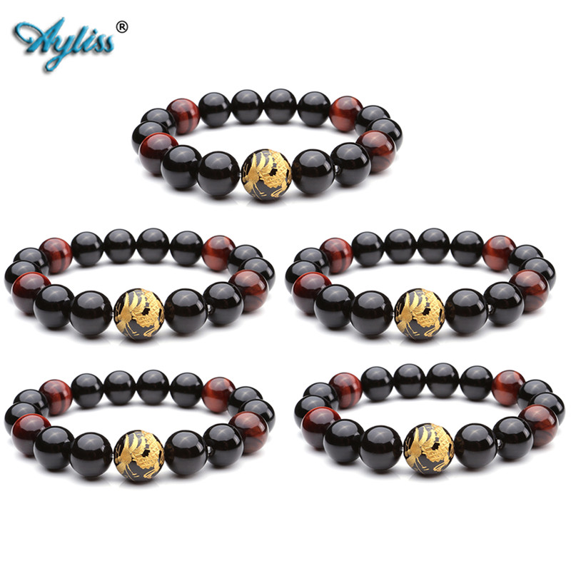 Ayliss Wholesale Mens Dragon King Pattern Natural Stone Red Tiger Eye Black Buddha Mala Beads Bracelet Link Bracelets 5pcs/10pcs