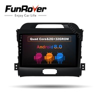 FUNROVER 2 din Android 8.0 9 inch Car DVD player for KIA Sportage Radio gps navigation multimedia auto radio usb wifi mirror map