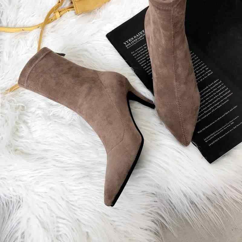 El yapımı sivri burun zip yüksek topuklu kadın yarım çizmeler muhtasar pist gece kulübü streç moda çizmeler ofis bayan kış ayakkabı L88