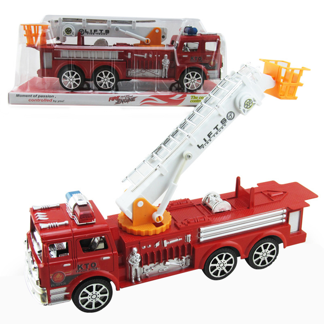 Pretend Play Firemen Large Size Artificial Aerial Ladder Truck Fire Fighting Truck Model For Kids Learning Playing Toys For Kids Firm In Structure