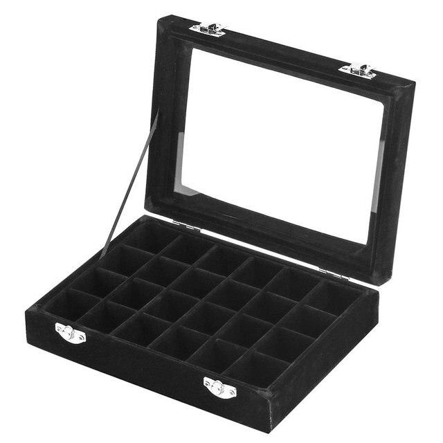 Black 24 Slot Velvet Gl Jewelry Box Organizer Rings Earrings Tray Display Storage Case