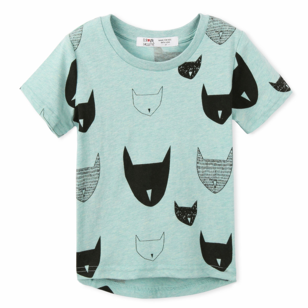 2017 Brand New Summer Kids tshirt 100%Cotton Jersey allover cat print Short Sleeves baby tshirts baby girl clothes 3 Colors Tops