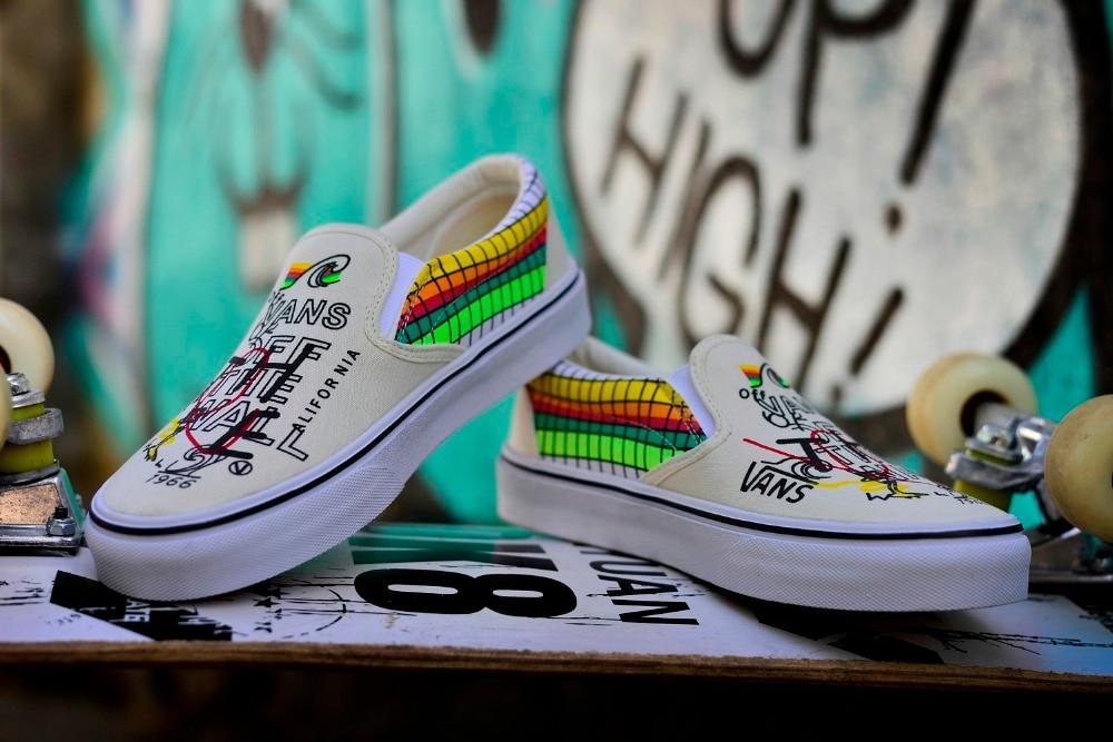 508769410b57 Aliexpress.com   Buy Original VANS Beige graffiti model XW201 Classic Men  and Womens Sneakers canvas shoes