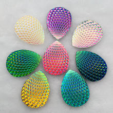 30*40mm Phoenix-tail shape AB Color Stick On rhinestone buttons Shiny Drop Resin Crystals Stones Strass DIY 6pcs/lot