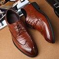 2017 весенняя мода Большой размер 36-46 48 Квартира с мужской обувь черный Коричневый натуральная Кожа Мужской шнуровке Оксфорд обувь обувь huarche