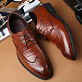 2017 spring fashion Large size 36-46 48 Flat with men's shoes black Brown real Leather Male lace-up Oxford shoes obuv huarche
