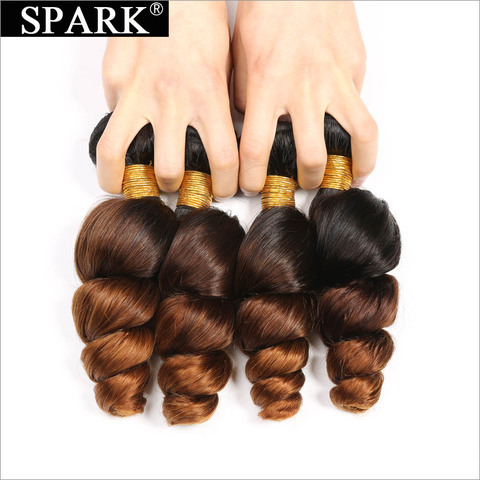 Spark Ombre Malaysian Loose Wave Human Hair 3/4 Bundles with Closure 4*4 Free Part Remy Hair Extension Free Middle Part 1B/4/30 Islamabad