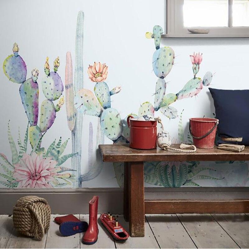 Freundlich Jiashemeiju Nach Foto 3d Wandbild Tapeten Tropical Tapete Für Wohnzimmer Home Interior Aquarell Kaktus Papel De Parede Profitieren Sie Klein Tapeten