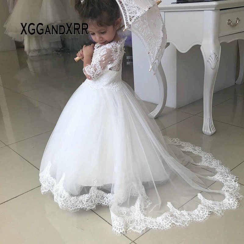 Lovely Little Bride Dress 2019 Flower Girl Dress Scoop Three Quarter  Sleeves Long Lace Applique White Little Girl Formal Gown