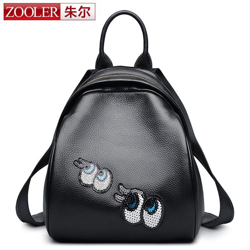 ZOOLER Women's Backpack Eyes Sequined Designer Black Cartoon Eyes Backpacks Travel Bag Cute Shell Backpacks for Teenager Girls zooler women s backpack eyes sequined designer black cartoon eyes backpacks travel bag cute shell backpacks for teenager girls