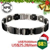 P098 FDA NOPROBLEM Band Anion ION BALANCE PEARLion New Titanium Sport Fashion Ceramic Bracelets