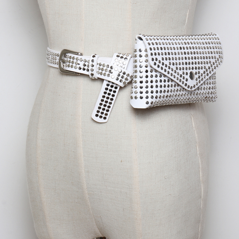 2018 new vintage lady punk rivet leather   belt   bags accessories handsome All-match fashion female   belts   quality women wide   belt