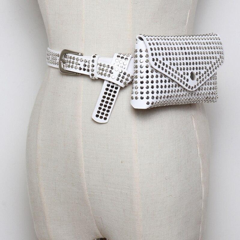 2019 new vintage lady punk rivet leather belt bags accessories handsome All-match fashion female belts quality women wide belt