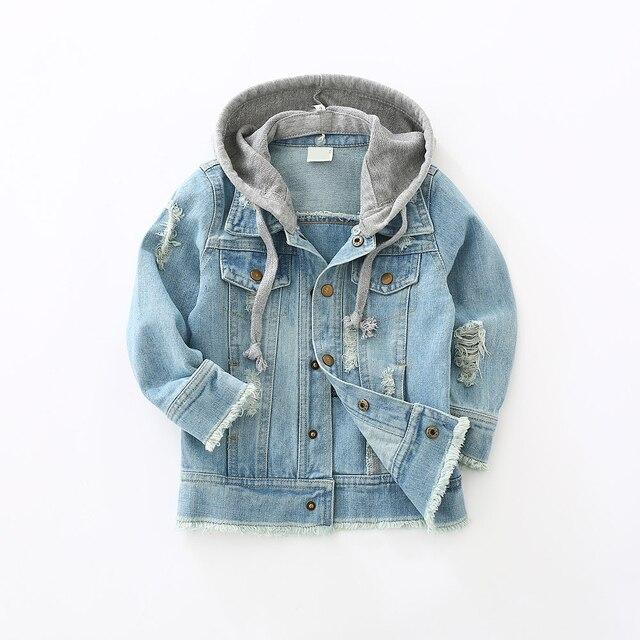 Ragazzi giacca di jeans per bambini di modo di autunno con cappuccio per bambini cappotto giacca di jeans vintage blue chiusura a bottone attivo di stile 2018 di Modo