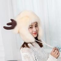 XIANXIANQING New Fur Hat Winter Women Faux Fox Hats The Deer Horns Hat Thickning Female Cap