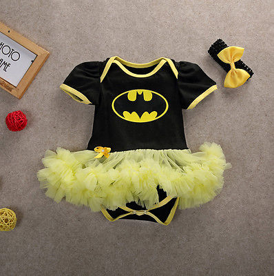 Newborn Baby Girls Clothing Batman Jumpsuit Bodysuit Lace