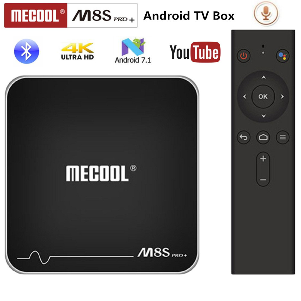 MECOOL M8S PRO+ Android TV OS TV Box 4K Voice Remote Control Amlogic S905W Android 7.1 2GB 16GB WiFi 100Mbps BT4.2 PK x96mini недорого