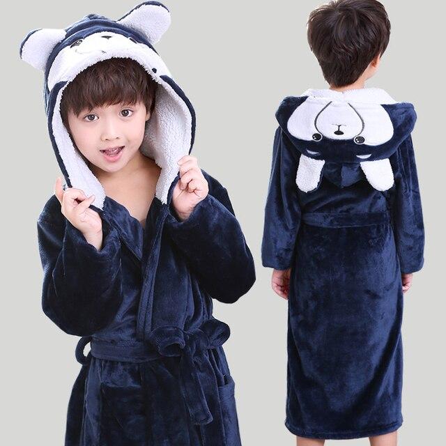 7f82be942174 2018 Fall   Winter Children s Nightgown Kids Coral Velvet Thickened Robe  Boys Flannel Bathrobe Girls Long