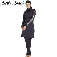 New Print Islamic Swimsuits Female Conservative Plus Size Swimwear Muslim Sunscreen Bathing Suit Include Hood And Tops And Pants