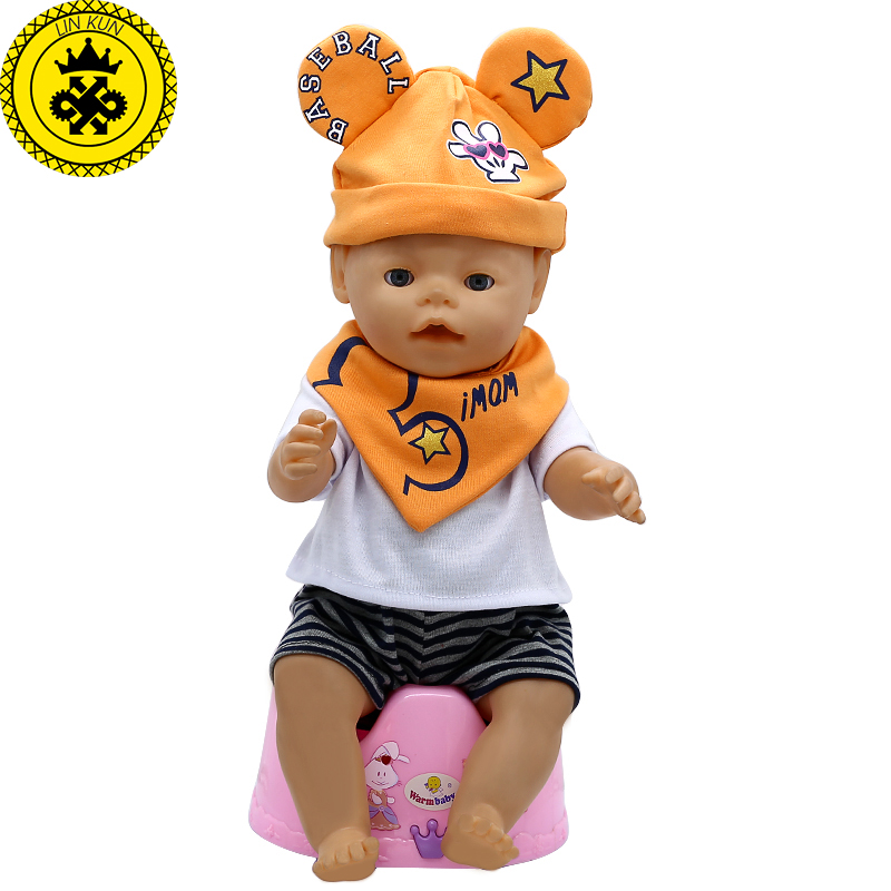 LIN KUN Baby Born Doll Clothes Cute T-shirt + Shorts + Hat + Bibs Suit Fit 43cm Zapf Baby Born 16-18 inch Doll Accessories T-12 rose christmas gift 18 inch american girl doll swim clothes dress also fit for 43cm baby born zapf dolls