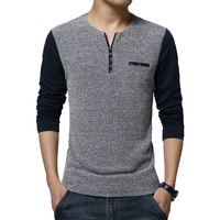 Hot Sale New Autumn Men S T Shirt Fashion Patchwork Long Sleeve T Shirt Mens Clothing