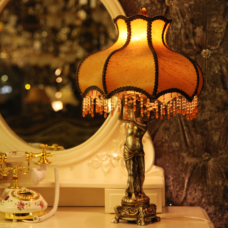 TUDA 33X63cm Free Shipping LED Resin Table Lamp European classical Style Table Luxury High Grade Fabric Lampshade Table Lamp E27 tuda 25 5x67cm free shipping american classical style resin table lamp led table lamp for bedroom bedside lamp e27 110v 220v