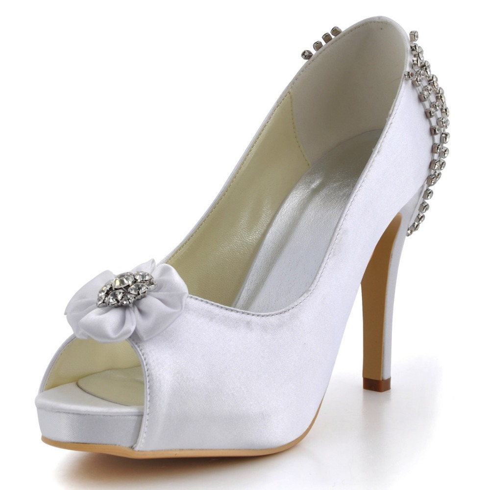 ФОТО EP2096-IP  Ivoy White Bride Fashion Women Evening Bridal Party Pumps Peep Toe High Heels inside Platforms Satin  Wedding Shoes