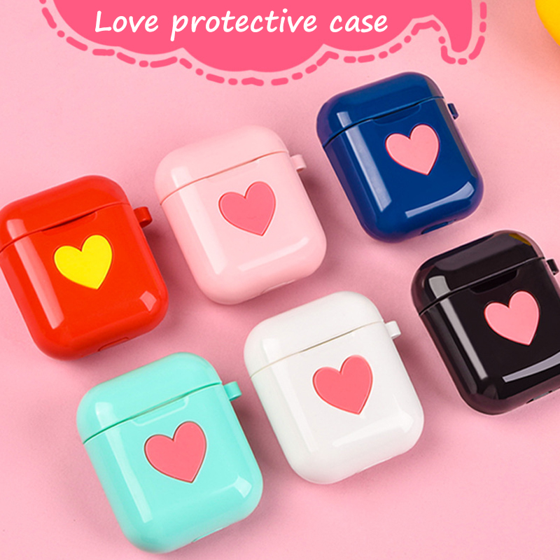 Cute Heart Silicone Case Earphone Charging Box Case For Airpods 1 2 With Hang Buckle Bluetooth Headphone Protective Cover Skin