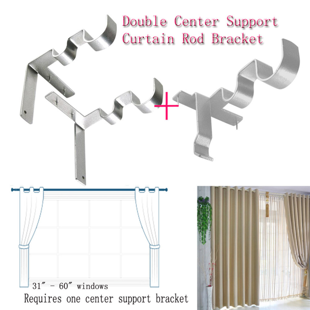Hang Double Center Support Curtain Rod Bracket Into Window